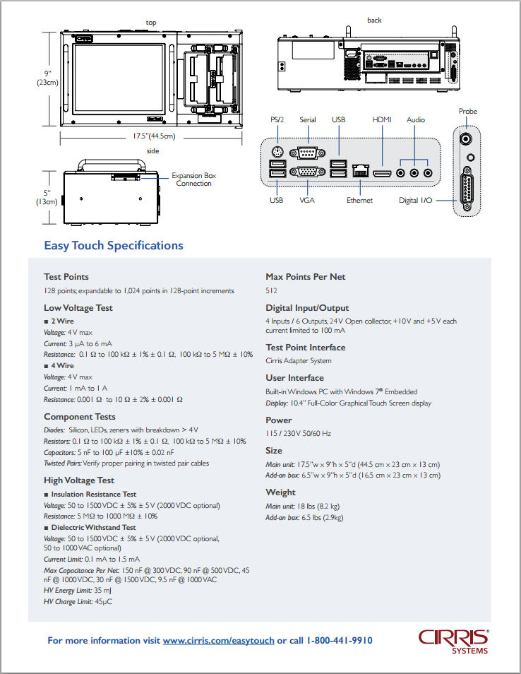 Cable Tester Spec Sheet